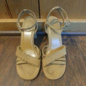 Trinkets Tan Ankle Strap Cage Cork Heel Sandal 7.5
